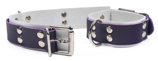 double-strap cuffs-purple on white